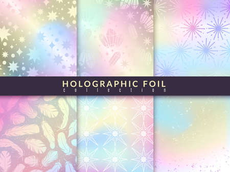 Holographic foil patterns. Trend glitter design pastel colours hologram textures, rainbow metallic abstract decor set. Creative textile, wrapping paper wallpaper, vector background and card collection 向量圖像