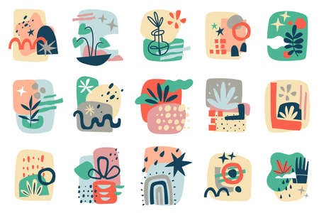 Abstract shapes collages. Contemporary doodles trendy geometric forms compositions, simple hand drawn scribbles, leaves and flowers objects, modern background with primitive objects vector cartoon set