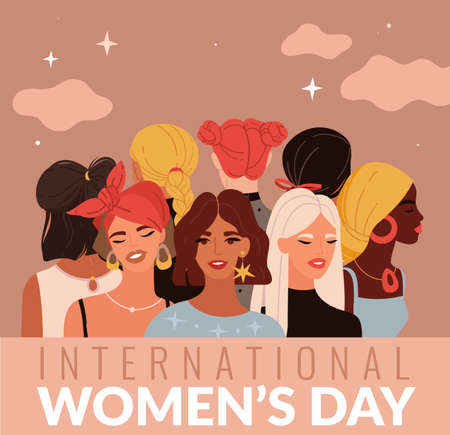 International women day. Young ladies different nationalities, female greeting card, variety hairstyles heads, multiethnic girls portrait, girl power and sisterhood concept. Vector holiday poster