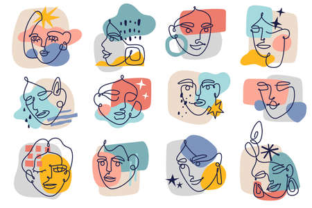 Abstract contour female faces. Modern one line women portraits sketches collection, contemporary collage background colorful spots, simple design trendy doodle minimalist faces. Vector isolated set 向量圖像