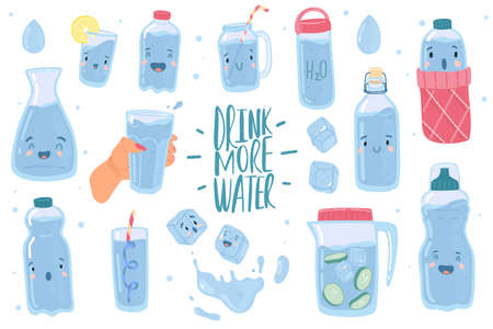 Drink more water. Cute drinking eco bottles characters, funny glasses with cartoon kawaii faces, detox and healthy lifestyle collection, clear aqua consumption call concept. Vector isolated doodle set 向量圖像