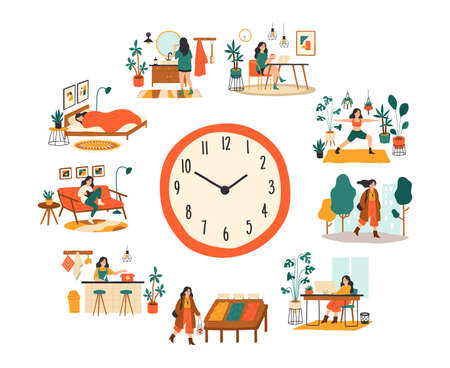 Female routine. Lifestyle activities temporal distribution, young woman daily schedule, life scenes around big clock face. Young woman sleep work training and shopping everyday vector cartoon concept 向量圖像