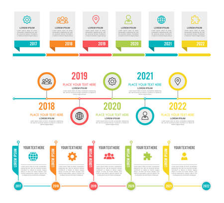 Timeline. Workflow or process diagram option and step infographic network marketing project planning business presentation, strategy organization and progress vector colorful templates with copy space 向量圖像