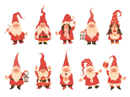 Christmas dwarfs. Adorable gnomes in red white costumes with lanterns, fairy tale funny characters in hats with xmas attributes, winter holiday decor collection vector isolated on white background set