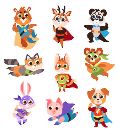 Hero animals characters. Cute children animals superheroes in active poses collection, fun kids creatures panda and raccoon, funny deer and cat, hare and pig in comics costume flat vector isolated set 向量圖像