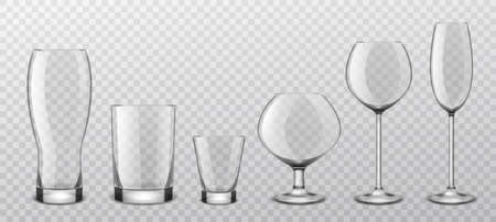 Alcoholic drinks realistic glass glasses. Realistic alcohol cocktail, wine crystal stemware, beer goblet and strong drink shot. Empty utensils for liquids vector isolated on transparent background set