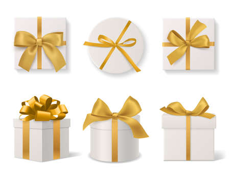 Realistic decorative gift boxes. 3d gifts white cardboard packaging templates, golden ribbons and bows top and side view, round and square wrapped presents. Vector isolated on white background set