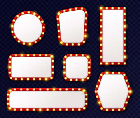 Retro light frames. 3d realistic luminous vintage frames with glowing light bulbs perimeter around, cinema, theatre and casino elements, mirror with lamps, signboard or advertise vector isolated set 向量圖像