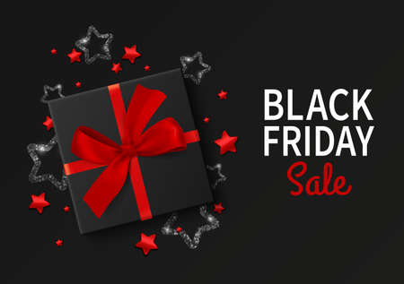 Black friday sale gift box. Realistic style cardboard box with red silk ribbon and bow, shiny sequins and glitter design promotional banner template. Advertising elements for discount vector poster 向量圖像