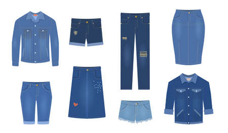 Jeans. Trendy denim garment different types blue female jeans pants, cotton jacket and shirt, shorts and skirts fashion breeches. Apparel stylish casual clothes collection vector isolated clothing set 向量圖像