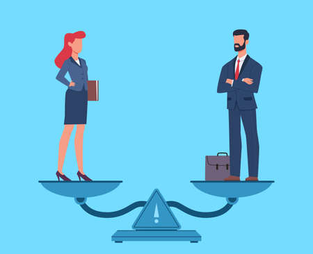 Gender equality. Man and woman in business suits standing on scales in balance, equal rights and pay, salary and fairness for both sexes at work, opportunities for employee vector flat cartoon concept
