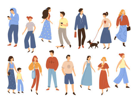 Walking people. Flat men and women with children outdoor street characters collection, different poses walkers phone talking, moving, standing and eating in summer park. Vector isolated cartoon set 向量圖像