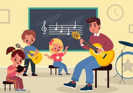 Music class learning. Young students listen teacher. Happy man with guitar teaches children in classroom interior, elementary school or kindergarten kids musical education vector flat cartoon concept 向量圖像