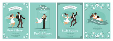 Bride and groom cards. Happy loving couple wedding ceremony man and woman in love, flower framed romantic invitations and greetings collection marriage celebration party poster vector flat cartoon set