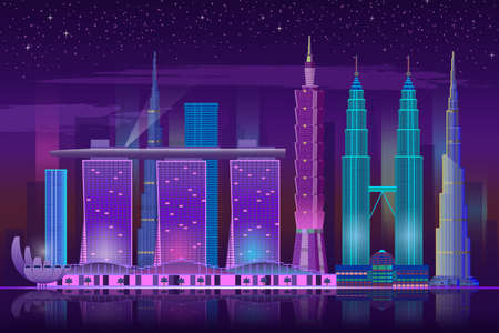 Neon skyscrapers. Retro 80s night cityscape, bright lights buildings futuristic background, water reflection and starry sky, modern poster in blue and purple colors, illuminated urban vector banner 向量圖像