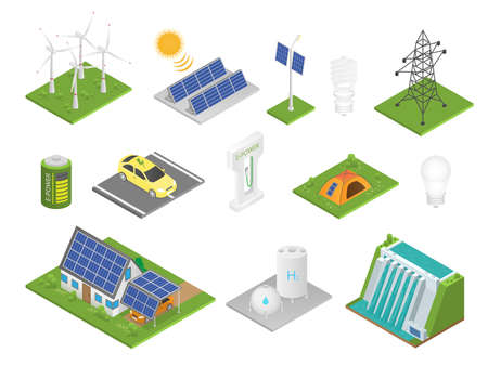 Isometric green technologies. Innovative eco industry collection, alternative energy sources sun battery panel and windmill, replenishable resources and recyclable waste ecological vector isolated set