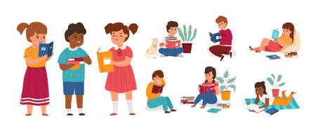 Kids readers. Boys and girls reading books, young literature fans in different poses collection, students new knowledge learning, childish bookstore and library concept cartoon vector characters set