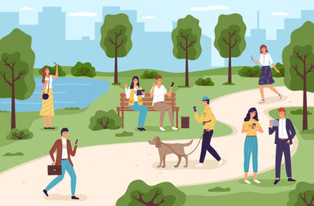 People with gadgets in park. Men and women spend time in city garden using electronic devices, walking outdoors with phones and tablets. Different poses walkers in summer park vector cartoon concept