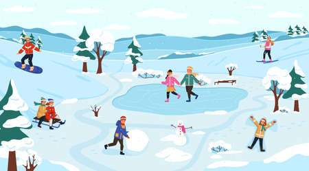 Winter outdoor activity. Snow games on fresh air, children frosty walk, people seasonal activities, snowman modeling, playing snowballs and ice skating, vector new year poster and christmas postcard