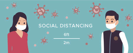 Social distance. Man and woman in medical masks safe distancing in public society prevent coronavirus, covid-19 outbreak spreading concept, horizontal banner or poster vector cartoon illustration