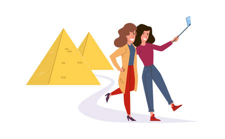 Girls make selfie. Cartoon women take pictures against background of Egyptian pyramids. Excursion to historical sights, adventure journey photo. Travel service agency advertising vector tourism 向量圖像