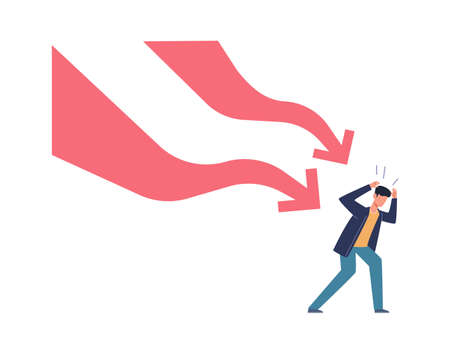 Falling down business graph. Panic businessman afraid arrow, bankruptcy and unpaid loan debt, company collapse losing money, financial problem economic crisis concept vector cartoon isolated character 向量圖像