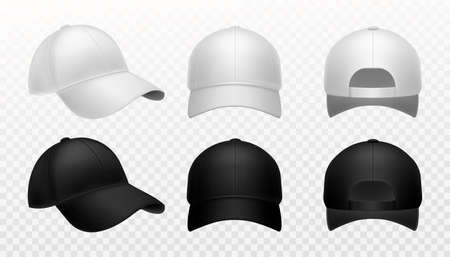 Baseball cap. Realistic black and white hat mockup, front side and back view sports headwear marketing branding template collection, empty textile 3d vector isolated on transparent background set