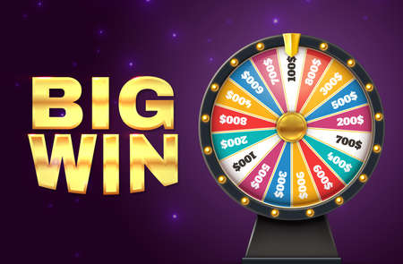 Big win banner. Realistic colorful lottery wheel. Twisting circle for raffling prizes on starry background. Gambling and promotion. Advertising casino or television show poster, vector jackpot