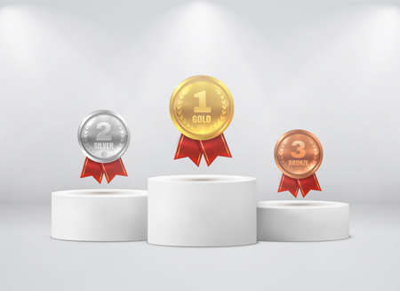 Medals on pedestal. First, second, third place on white cylinder podium under spotlights realistic mockup. Gold silver bronze round coins with red ribbon on stages, award ceremony vector 3d concept