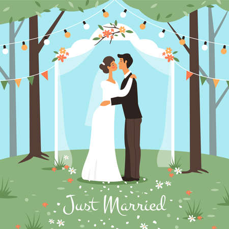 Wedding marriage ceremony. Bride and groom get married, happy love couple in wedding arch kissing, romantic garden party summer landscape, matrimony greeting or invitation card, vector cartoon concept