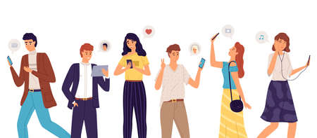 People group with smartphones. Cartoon young men and women communicate through modern devices, exchange messages, listen to music, make selfie. Social media network and video conference, vector set