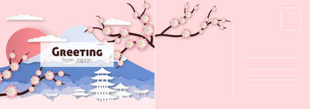 Travel postcard. Japanese card with elegant sakura flowers and branches, historical buildings and fuji mountain, asian letter template in paper cut style, vector invitation and greeting illustration