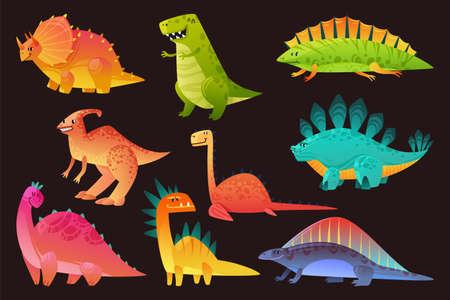 Dinosaur wild animal set. Funny cute dinosaurs wild animals dragon and nature reptile, childish bright exotic prehistoric collection vector flat nursery design cartoon isolated on black illustration