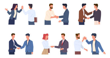 Handshaking people. Greeting male and female characters polite and friendly gestures collection, men and woman respect and high five, partnership and business etiquette concept vector flat cartoon set