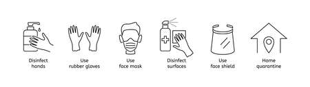 Coronavirus prevention line icons. Covid-19 protection outline symbol set, disinfect hand and surfaces, use gloves and medical mask, face shield, stay home at quarantine vector isolated illustration