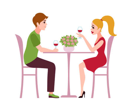 Happy romantic couple in restaurant. Loving man and woman sit at table drink wine talking, celebrate valentine holiday.  イラスト・ベクター素材