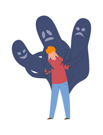 Schizophrenia mental disorder. Sad crying man in panic with ghosts, emotional pressure and psychological anxiety negative emotions before psychotherapy concept cartoon flat vector illustration