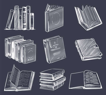 Hand drawn retro book set. Vintage sketch notebooks, stack on bookshelf, open and close books in chalk drawing style.