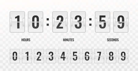 Counter. Realistic countdown clock isolated on transparent background, automatic scoreboard schedule retro timetable vector template.