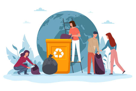 Ecology cartoon people banner. Eco volunteers women and men cleanse Earth from pollution, garbage sorting in huge trash can, protect and save world concept, flat vector cartoon isolated illustration