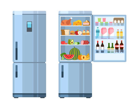 Open and closed fridge. Refrigerator empty and with products inside, healthy food water and milk, fruit and vegetable, alcohol and meat, electric equipment for kitchen flat cartoon vector isolated set  イラスト・ベクター素材