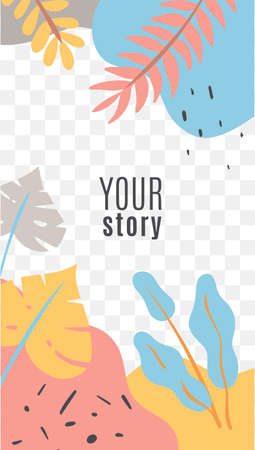 Stories floral social media cover. Social networks posts tropical leaves and branches in yellow, pink and blue colors exotic flat vector layout web banner.