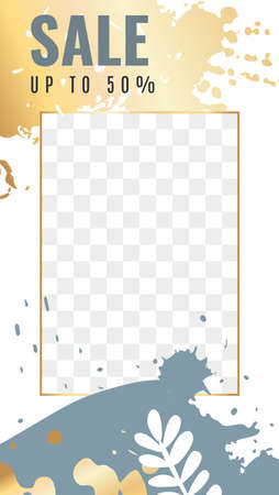 Trendy editable media stories. Frame with transparent layer and gold texture, golden and gray abstract shapes with copy space, personal blog template.  イラスト・ベクター素材