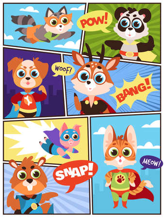Comic super animals. Comics storyboard with funny costumes masked beasts superheroes and speech bubbles. Kids zoo heroes panda and pig, dog and beaver, deer and cat, cartoon vector characters flat set