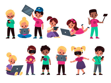 Kids with gadgets. Cute funny children use electronic devices, smartphones and tablets, girl and boys with laptops, phones and virtual reality glasses, addicted to gadgets vector cartoon isolated set  イラスト・ベクター素材