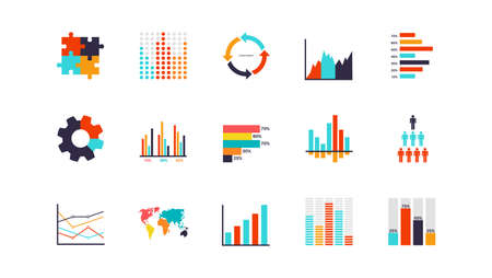 Infographics analysis chart. Modern presentation diagram objects, timeline and flowchart elements collection.