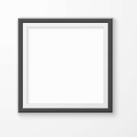 Picture frame. Realistic blank image on gallery wall, modern black square empty photoframe, montage space template.