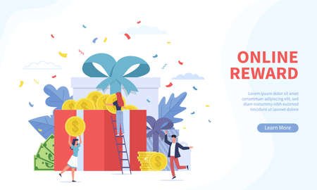 Online reward landing page. Tiny people receives different gift boxes and gold coins for good job corporate offer, digital referral program web banner.