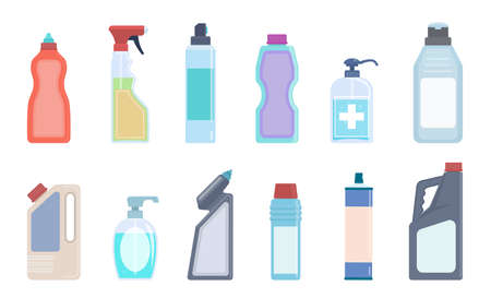 Detergent bottles. Cleaning supplies in plastic containers, bleach and household chemicals bottle collection, sanitary washing products for kitchen, toilet and home vector isolated flat colorful set