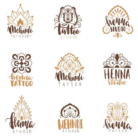 Mehndi beauty salon emblems. Mandala henna tattoo studio icons, indian ethnic body decoration ornaments logotype collection with hand drawn text.